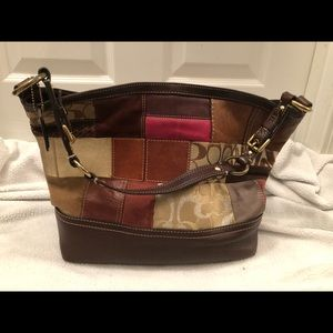 Pre-loved Large Coach patchwork bag. Browns. NICE